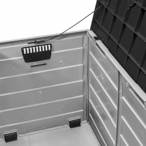All Weather Outdoor Patio Deck Box Storage Shed Bin w/ Wheel Perspective: left