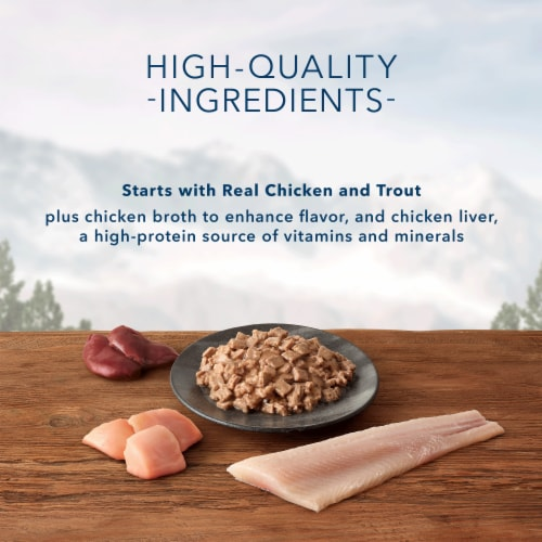 Blue Buffalo Wilderness Wild Delights Flaked Chicken & Trout Wet Cat Food Perspective: left