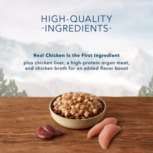 Blue Wilderness Trail Toppers Wild Cuts Chunky Chicken Bites Wet Dog Food Perspective: left