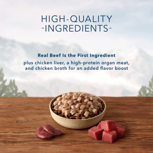 Blue Wilderness Trail Toppers Wild Cuts Chunky Beef Bites Wet Dog Food Perspective: left