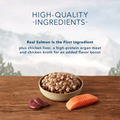 Blue Wilderness Wild Cuts Chunky Salmon Bites Wet Dog Food Topper Perspective: left