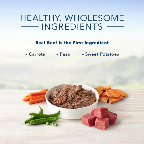 Blue Buffalo Beef Dinner Homestyle Recipe Natural Wet Dog Food Perspective: left