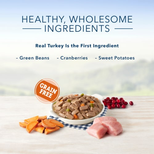 Blue Buffalo Family Favorite Recipes Turkey Day Feast Wet Dog Food Perspective: left