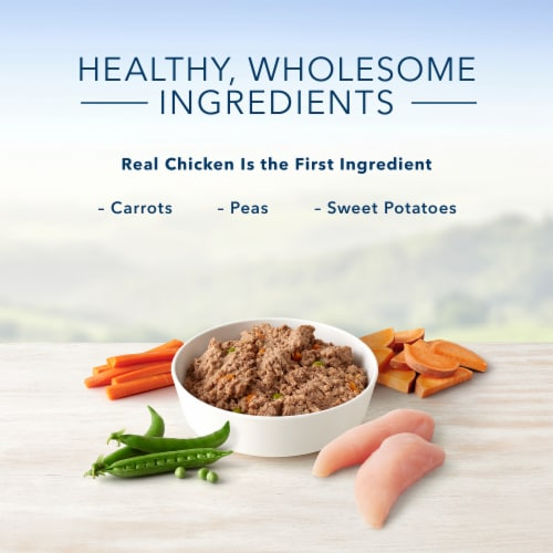 Blue Buffalo Homestyle Recipe Chicken Dinner with Garden Vegetables Wet Puppy Food Perspective: left