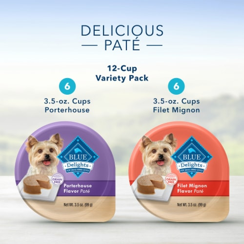 Blue Buffalo Divine Delights Small Breed Filet Mignon & Porterhouse Flavor Pate Variety Pack Perspective: left