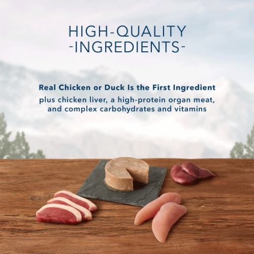 Blue Wilderness Duck and Chicken Wet Dog Food Variety Pack Perspective: left
