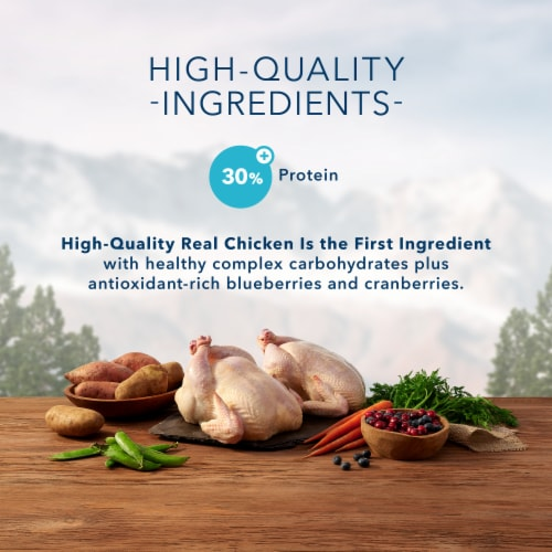 Blue Wilderness High Protein Chicken Natural Mature Dry Cat Food Perspective: left