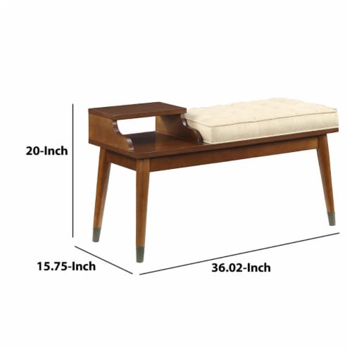 ACME Baptis Bench in Walnut and Fabric Perspective: left