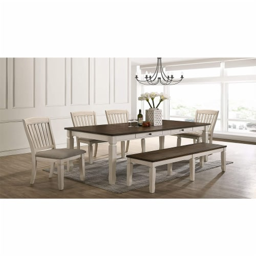 ACME Furniture Fedele Kitchen Dining Table with 2 Storage Drawers, Weathered Oak Perspective: left