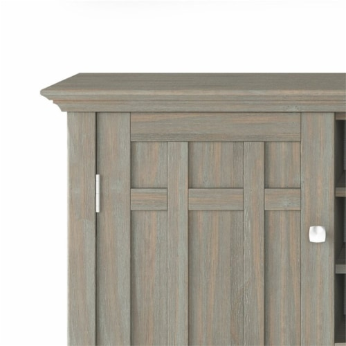 Simpli Home Bedford Wood 54  Transitional Sideboard Buffet and Wine Rack in Gray Perspective: left
