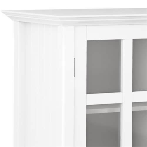 Simpli Home Acadian Solid Wood 39   Transitional Medium Storage Cabinet in White Perspective: left