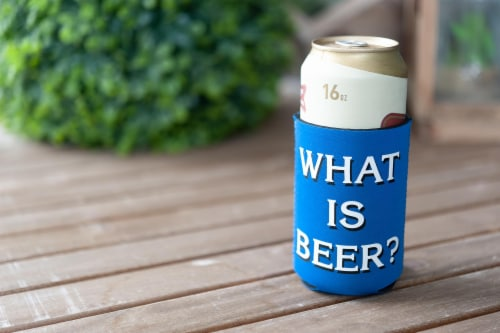 Jeopardy What Is Beer Koozie Insulated Can Koozie | Foam Beer Can Cooler Sleeve Perspective: left