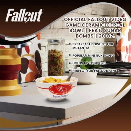 OFFICIAL Fallout Video Game Ceramic Cereal Bowl | Feat. Sugar Bombs | 20 Oz. Perspective: left
