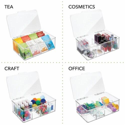 mDesign Stackable Plastic Tea Bag Organizer Kitchen Storage Box, 2 Pack Perspective: left