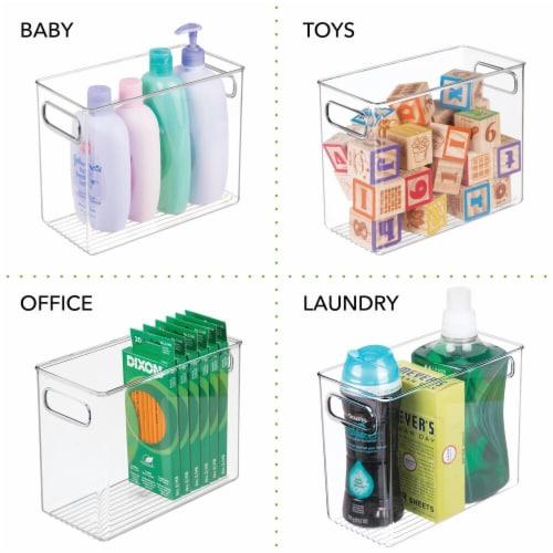 mDesign Tall Plastic Kitchen Food Storage Organizer Bin, Handles, 4 Pack Perspective: left