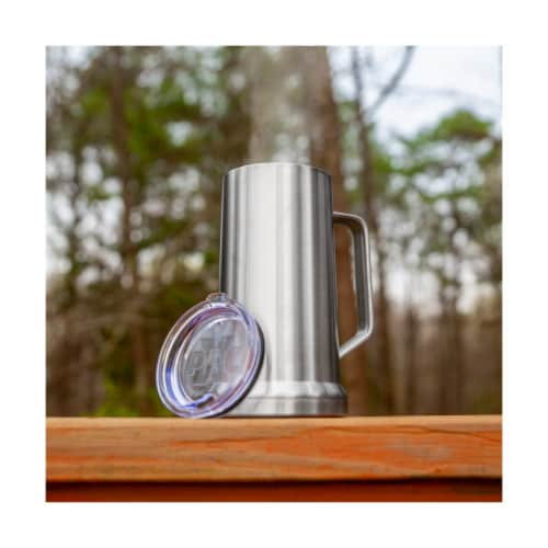 22 Ounce Beer Mug with Lid and Handle, Stainless Steel, Vacuum Insulated Stein Perspective: left