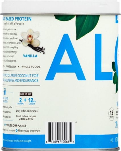 Aloha Organic Vanilla Protein Powder Perspective: left