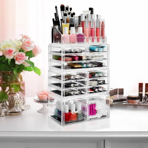Acrylic Makeup Cosmetic Organizer & Jewelry Storage Set - Large Perspective: left