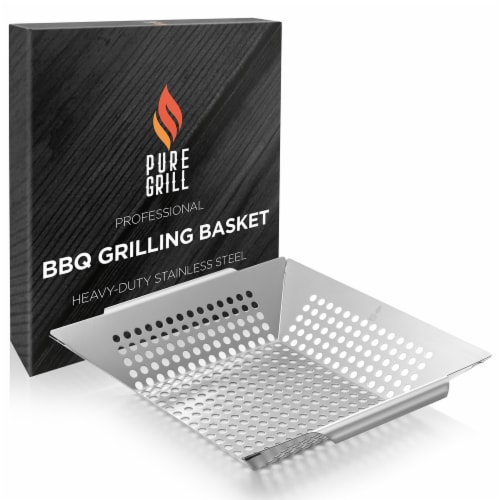 Vegetable Grilling Basket, Stainless Steel by Pure Grill Perspective: left