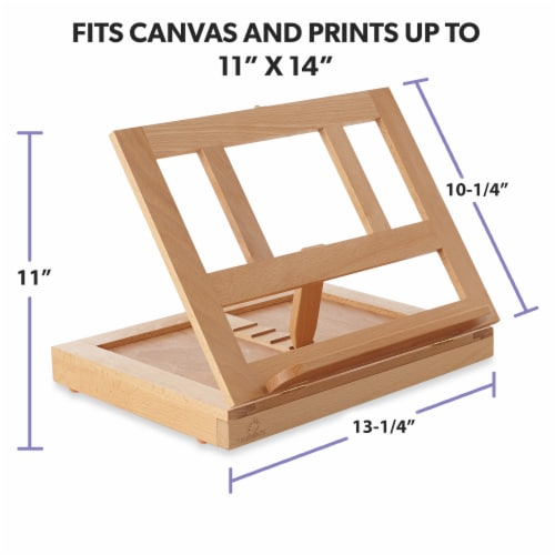 Beechwood Table Easel- Adjustable with Palette and Storage- 7 Elements Perspective: left