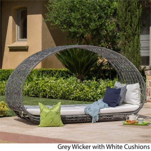 Noble House Boca Grande Outdoor Wicker Daybed in Gray and White Perspective: left