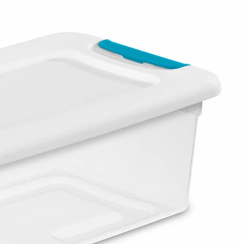 Sterilite 1492 6-Quart Clear Stackable Latching Storage Box Container (12 Pack) Perspective: left