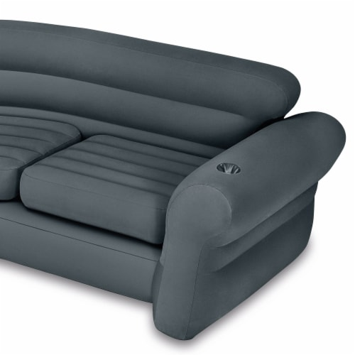 Intex Inflatable Indoor Corner Couch Sectional Sofa w/ Cupholders, Gray (4 Pack) Perspective: left