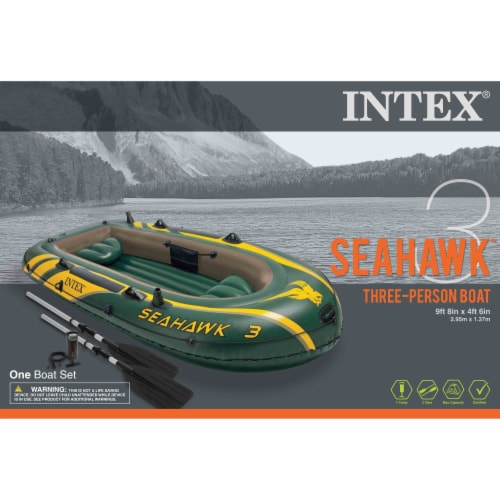 Intex Seahawk 3 Person Inflatable Boat Set with Aluminum Oars & Pump (2 Pack) Perspective: left
