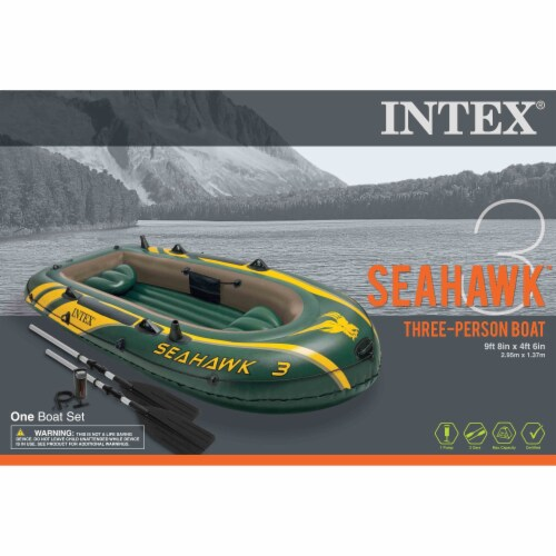 Intex Seahawk 3 Person Inflatable Boat Set with Aluminum Oars & Pump (3 Pack) Perspective: left