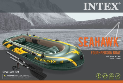 Intex Seahawk 4 Inflatable 4 Person Boat Raft Set with Oars & Air Pump (2 Pack) Perspective: left