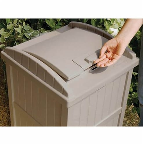 Suncast 30-33 Gallon Deck Patio Resin Garbage Trash Can Hideaway, Taupe (2 Pack) Perspective: left