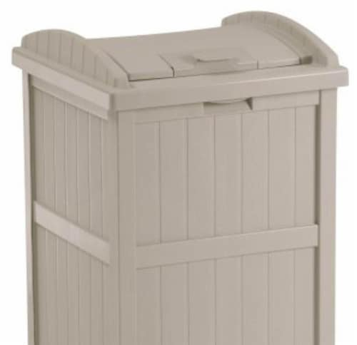 Suncast 30-33 Gallon Deck Patio Resin Garbage Trash Can Hideaway, Taupe (3 Pack) Perspective: left