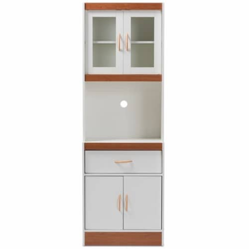 Baxton Studio Laurana Kitchen Cabinet and Hutch in White and Cherry Perspective: left