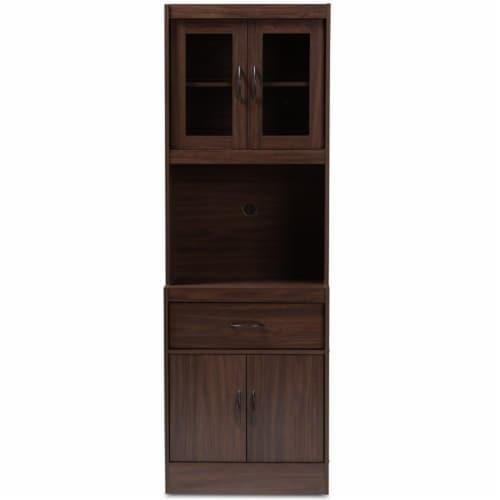 Baxton Studio Laurana Kitchen Cabinet and Hutch in Dark Walnut Perspective: left