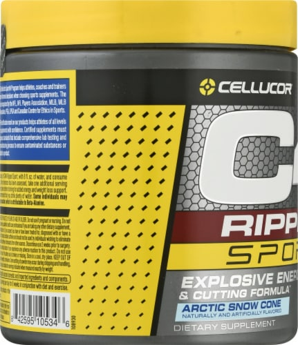 Cellucor C4 Arctic Snow Cone Ripped Sport Pre-Workout Perspective: left
