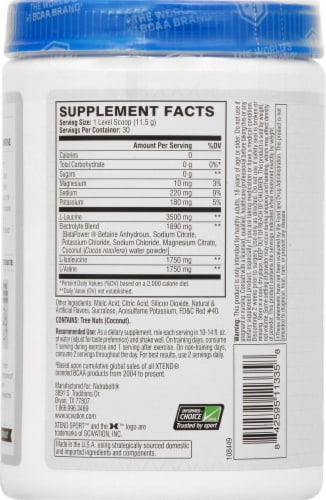 Xtend Sport Strawberry Kiwi Splash Dietary Supplement Powder Perspective: left