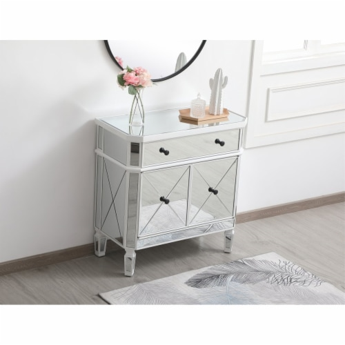 32 inch mirrored cabinet in antique white Perspective: left