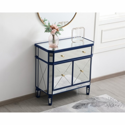 32 inch mirrored cabinet in blue Perspective: left