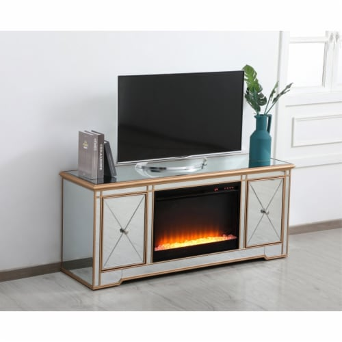 Modern 60 in. mirrored tv stand with crystal fireplace in antique gold Perspective: left