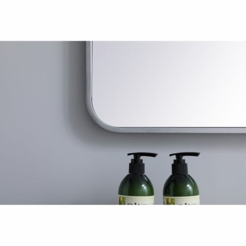 Soft corner metal rectangular mirror 24x32 inch in Silver Perspective: left