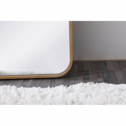 Soft corner metal rectangular mirror 18x60 inch in Brass Perspective: left