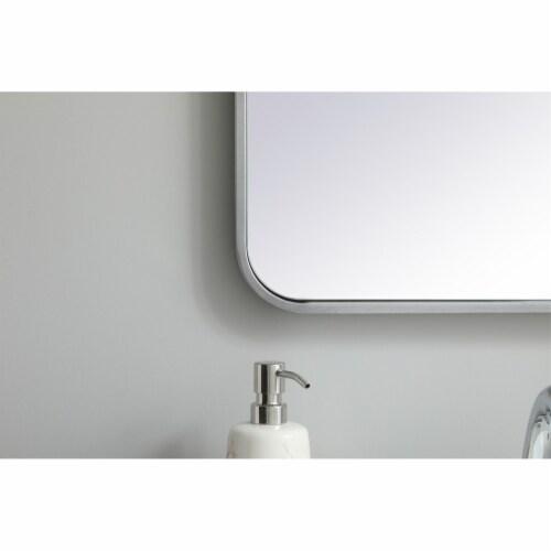 Soft corner metal rectangular mirror 20x36 inch in Silver Perspective: left