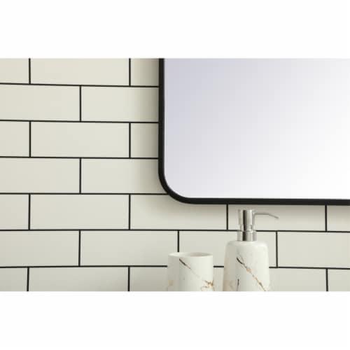 Soft corner metal rectangular mirror 30x40 inch in Black Perspective: left