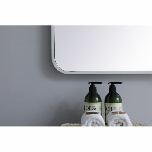Soft corner metal rectangular mirror 30x60 inch in White Perspective: left