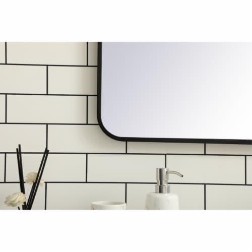 Soft corner metal rectangular mirror 36x36 inch in Black Perspective: left