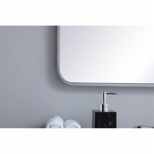 Soft corner metal rectangular mirror 36x36 inch in Silver Perspective: left
