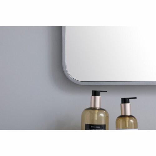 Soft corner metal rectangular mirror 36x40 inch in Silver Perspective: left