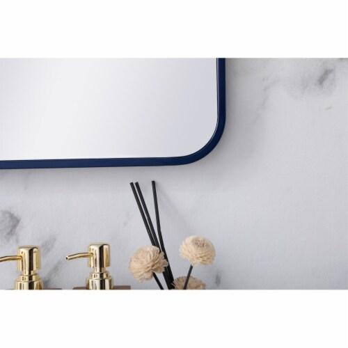 Soft corner metal rectangular mirror 22x40 inch in Blue Perspective: left