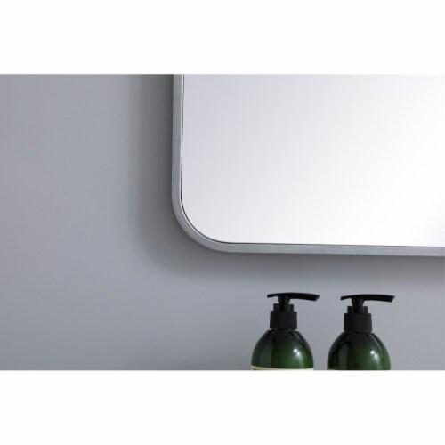 Soft corner metal rectangular mirror 27x40 inch in Silver Perspective: left