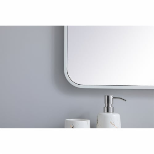 Soft corner metal rectangular mirror 27x40 inch in White Perspective: left